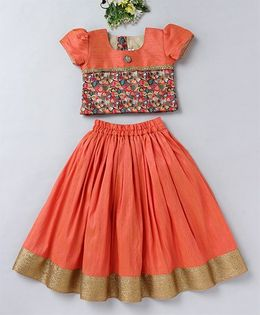 Mom's Girl Floral Digital Print Choli & Lehenga Set - Peach