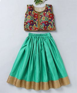 Mom's Girl Floral Design Choli & Lehenga With Zari Work At Bottom - Green