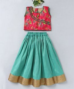 Mom's Girl Butterfly Design Choli & Lehenga Set - Green & Pink