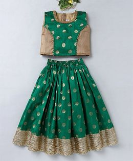 Mom's Girl All Over Dot Design Choli & Lehenga With Zari Work - Green