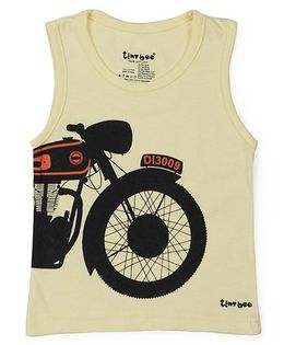 Tiny Bee Bike Print Sleeveless Tee - Yellow