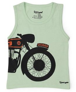 Tiny Bee Bike Print Sleeveless Tee - Green