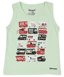 Tiny Bee Sleeveless T-Shirt Bus Print - Light Green