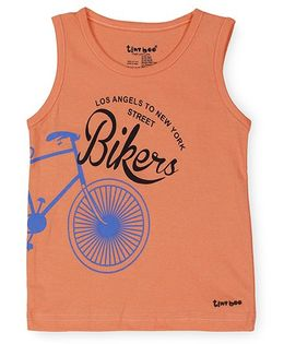 Tiny Bee Sleeveless T-Shirt Bikers Print - Orange