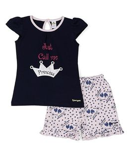 Tiny Bee Cap Sleeves Top And Shorts Princess Print - Navy Blue Light Pink