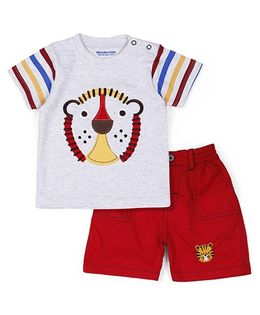 Wonderchild Half Sleeves T-Shirt And Shorts Set Lion Print - Grey Red
