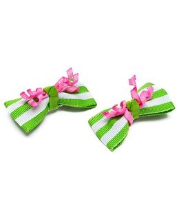 Ribbon Candy Alligator Clip With Curlies Pack Of 2 - Green Pink