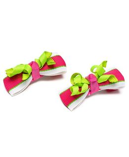 Ribbon Candy Stylish Alligator Clip Pack Of 2 - Pink & Green