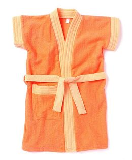 Pebbles Half Sleeves Baby Bathrobe - Orange & Light Orange