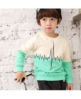 Funtoosh Kidswear Pulse Rate Embroidered Dual Tone Sweatshirt - Green
