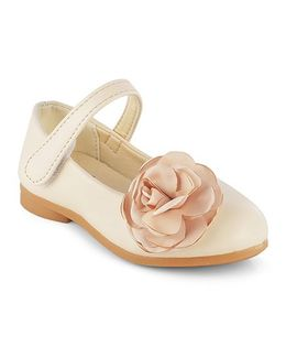 Kittens Mary Jane Belly Shoes Velcro Closure Flower Applique - Cream