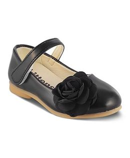 Kittens Mary Jane Belly Shoes Velcro Closure Flower Applique - Black