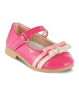Kittens Mary Jane Belly Shoes With Dual Bow Motif - Pink