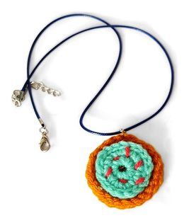 Soulfulsaai Crochet Charm Necklace Donut Design - Brown & Blue