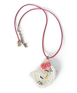 Soulfulsaai Crochet Charm Necklace Kitty Design- White & Pink
