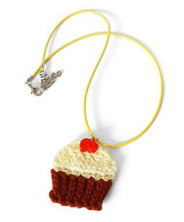 Soulfulsaai Crochet Charm Necklace Cupcake Design - Brown & Yellow