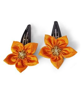 Soulfulsaai Silk Flower Hair Clips Pack Of 2 - Yellow