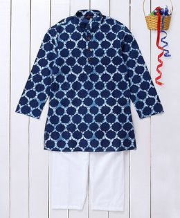 Pspeaches Printed Cotton Kurta & Pyjama Set - Blue