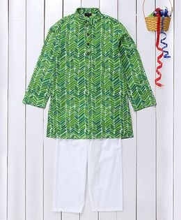 Pspeaches Ethnic Wear Cotton Kurta & Pyjama Set - Green