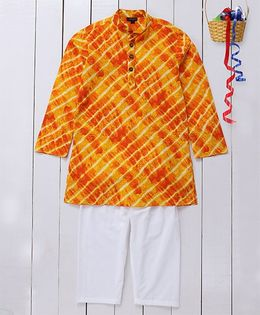 Pspeaches Ethnic Cotton Kurta & Pyjama Set - Yellow
