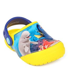 Crocs Clogs With Back Strap Dory Print - Yellow Blue