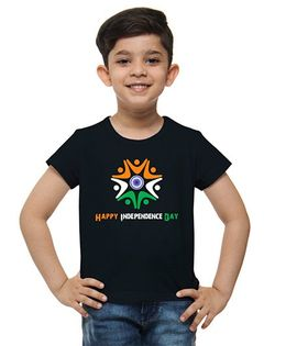 M'Andy Happy Independence Day Print Tee - Black