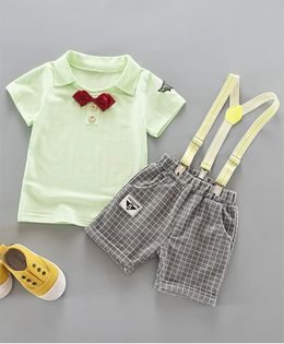 Wonderland Tee With Bow Tie & Suspender Style Checkered Shorts - Green