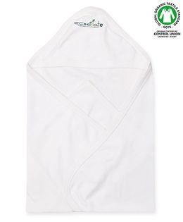 Ecoelate Authentic Organic Cotton Herbal Dyed Towel With Hood - White