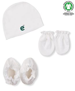 Ecoelate Authentic Organic Cotton Herbal Dyed Cap Socks & Gloves - White