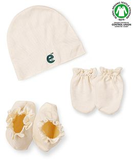 Ecoelate Authentic Organic Cotton Herbal Dyed Cap Socks & Gloves - Yellow
