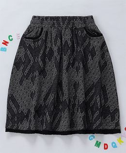 Holy Brats Abstract Motif Printed Skirt - Black & Gray
