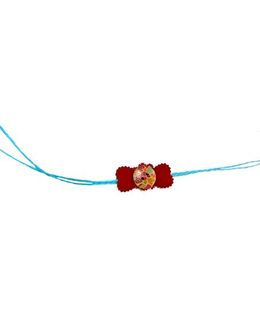 Thought Counts Buttoned Bow Rakhi - Red & Blue
