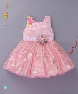 Enfance Party Wear Dress With Attached Broach - Pink