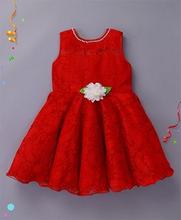 Enfance Sleeveless Party Wear Dress With Flower Applique - Red
