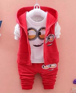 Pre Order - Dells World Cute Cartoon Print Full Sleeveless Tee With Hoodie & Pant - White & Red