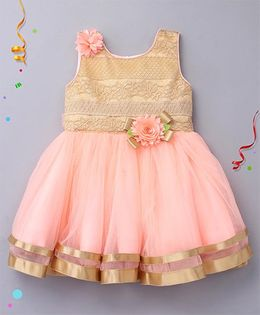 Enfance Sleeveless Dress With Flower Applique - Peach