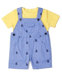 ToffyHouse Embroidered Dungaree With Half Sleeves T-Shirt - Blue Yellow