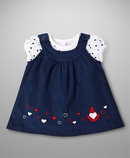 ToffyHouse Sleeveless Frock With Inner Heart Print & Embroidery - Navy