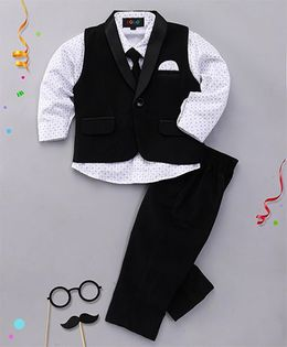 Robo Fry 3 Piece Party Suit With Tie - Black & White