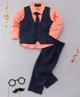 Robo Fry 3 Piece Party Suit With Tie - Peach & Navy Blue