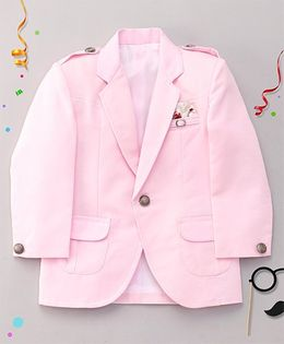 Robo Fry Full Sleeves Party Wear Blazer With Button Placket - Pink