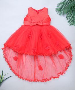 Pinkalicious Party Wear Sleeveless Asymmetrical Frock Bow Applique - Red