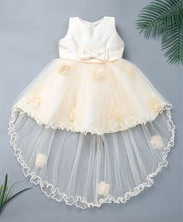 Pinkalicious Party Wear Sleeveless Asymmetrical Frock Bow Applique - Cream