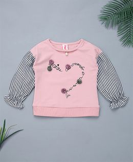 Pinkalicious Full Sleeves Stripes Top Floral Applique - Pink & White