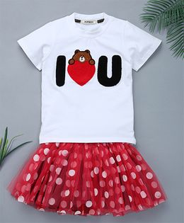 Pinkalicious Half Sleeves T-shirt And Polka Dot Printed Skirt - White & Red
