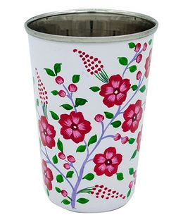 The Crazy Me Handpainted Blossom Floral Pattern Tumbler Pink White - Large