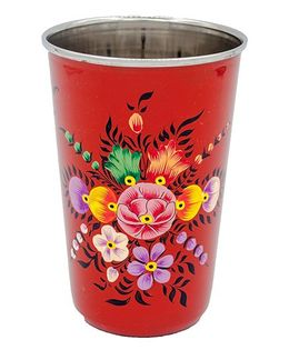 The Crazy Me Handpainted Floral Pattern Tumbler Red - Large