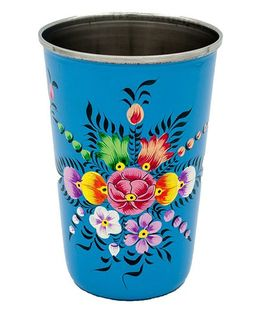The Crazy Me Handpainted Floral Pattern Tumbler Blue - Large