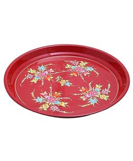 The Crazy Me Handpainted Stainless Steel Tray - Red