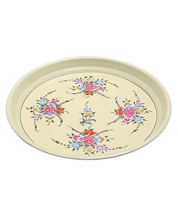 The Crazy Me Handpainted Stainless Steel Tray - Cream